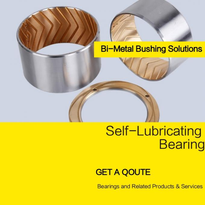 Shaft Oil Grooves & Lock Flange Bimetal Bearing Bushes With Oil Indentation CuSn10Pb10