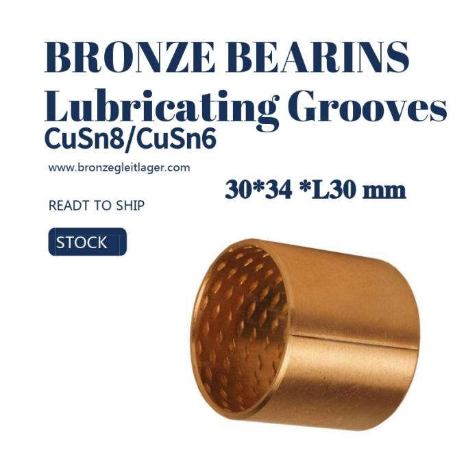 Tin Bronze Sleeve Bushing BRM 30 - 34 L30 With Lubricating Grooves FB090 0