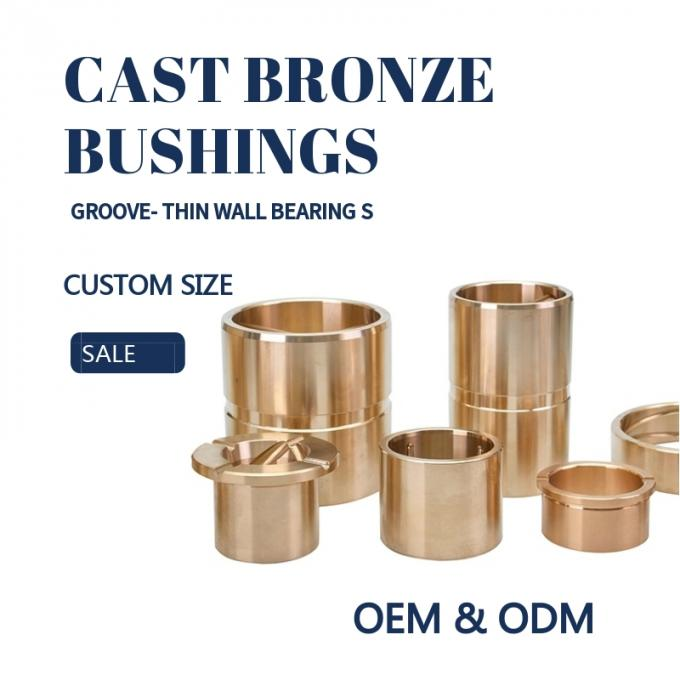 Customzied Oil / Grease Groove Casting Bronze Sleeve & Flange Six To Eight Designs for Loaders