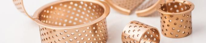 Bronze Flange Dry Sliding Bearing Bushing 35-39-30mm Perforated In Gold