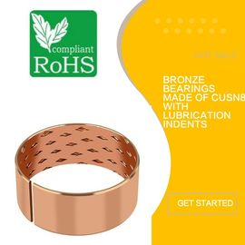 Bronze Flanged Sleeve Bushing & Bearings Made Of CuSn8 With Lubrication Indents supplier