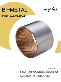 China High Precision Metal & Bimetal Bearings , Split Self Lubricating Bearing Steel + CuSn6.5P0.1 factory