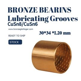 China Tin Bronze Sleeve Bushing BRM 30 - 34 L20 With Lubricating Grooves FB090 factory