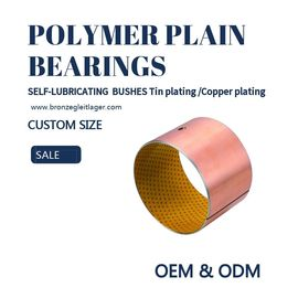 China Tin / Copper Plating Polymer Plain Bearings Guide Sleeve Bushes With Oil Holes factory