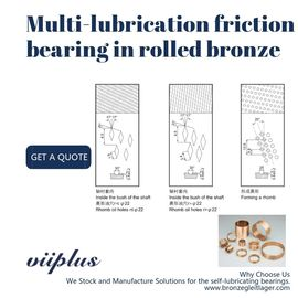 Multi Lubrication Friction Type Bearing In Rolled Bronze Material CuSn8 Bronze For Hydraulics