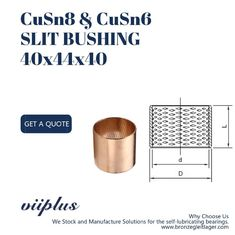 Slit Oilless Bronze Bushings For Hydraumatic CuSn8P 40x44x40 BMZ 4040 Size