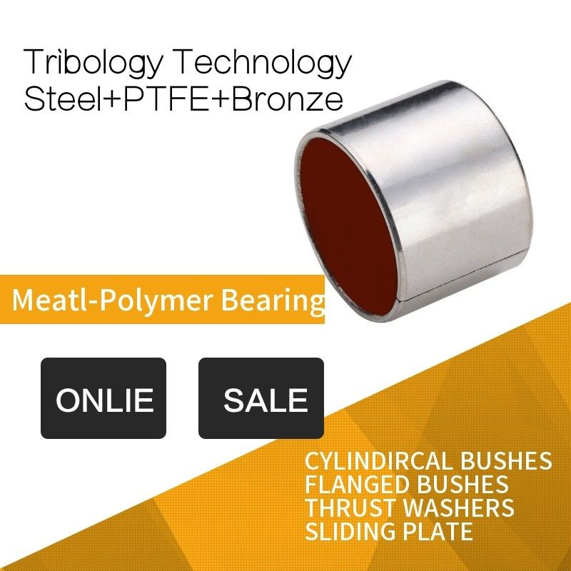 Steel Red Modified PTFE Cylindircal Bushes , Tin Or Copper Plated RoHS supplier