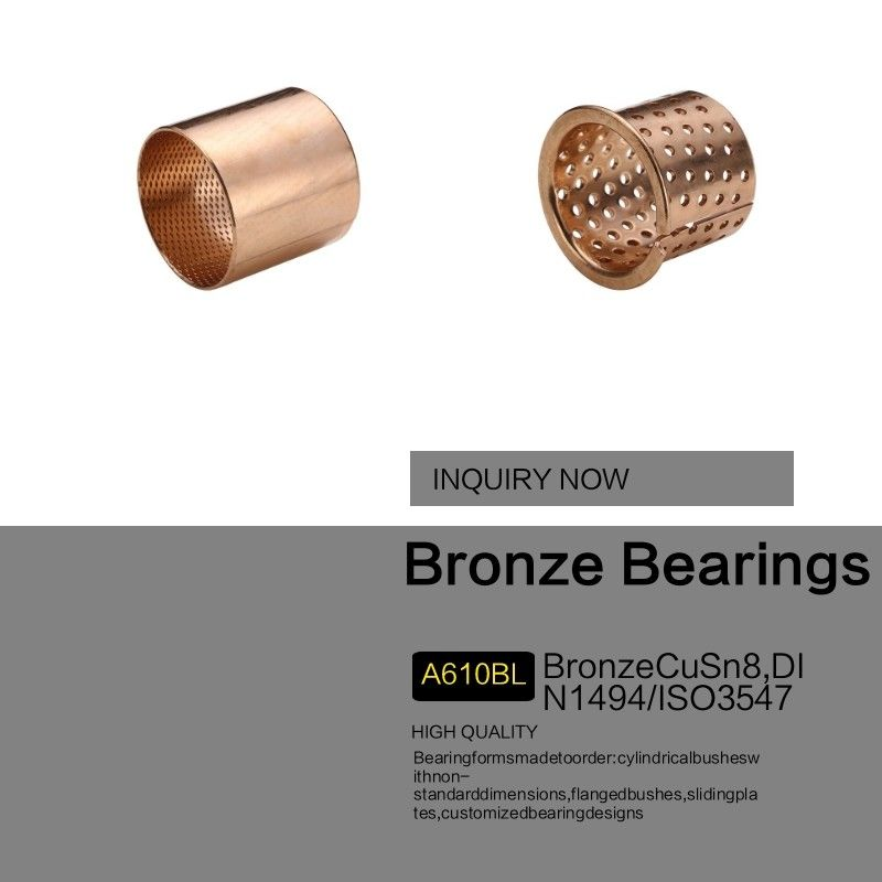 High Load Capacity Bronze Sleeve Bushings Made Of CuSn8 With Lubrication Indents
