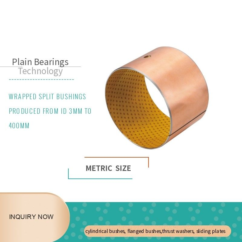 Yellow POM Layer Sleeve Self Lubricating Bronze Bushings Split Type Durable