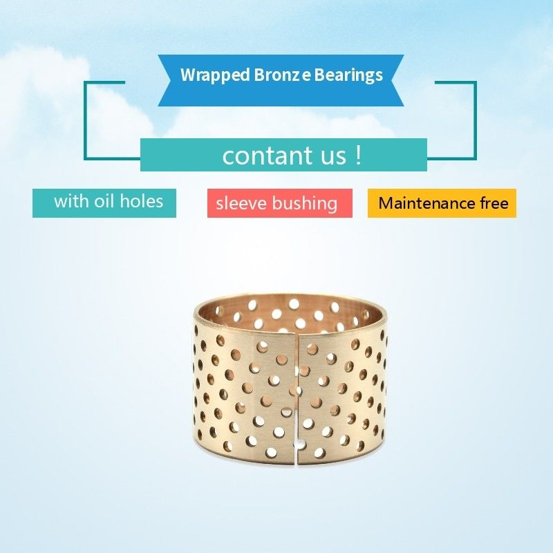 CuSn8 Material Solid Wrapped Bronze Bearings With Self - Lubricating Oil Holes