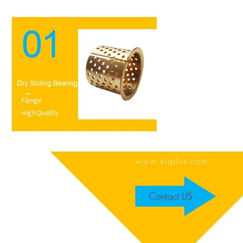 Bronze Flange Dry Sliding Bearing Bushing 35-39-30mm Perforated In Gold supplier