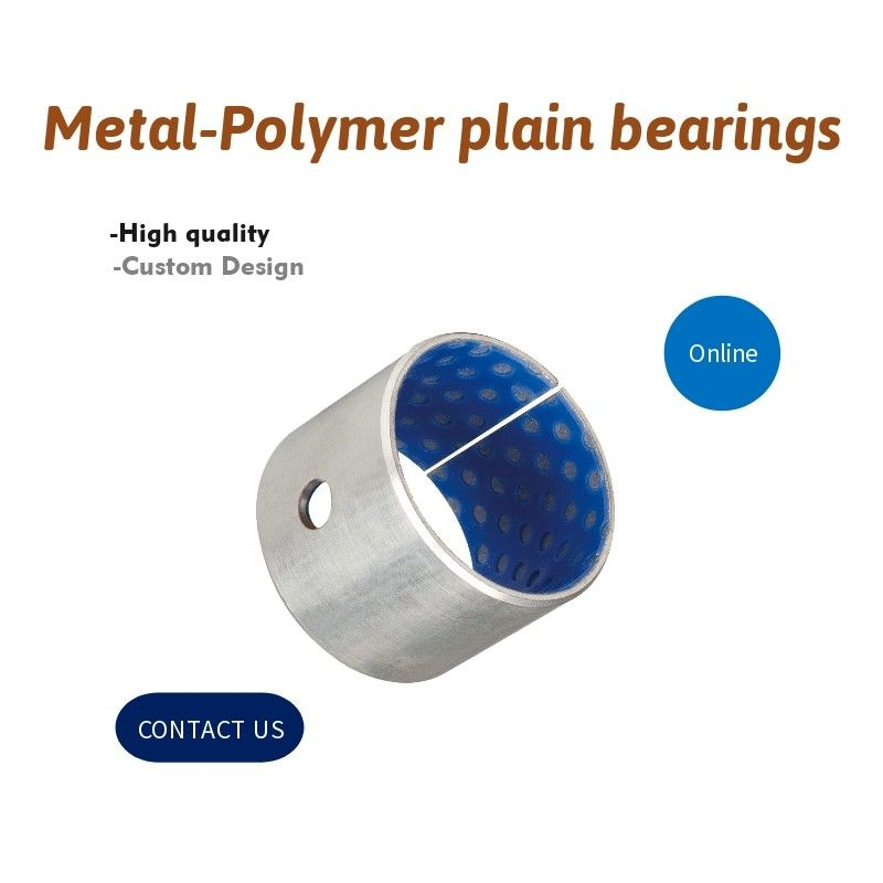 Metal-Polymer Plain Bearings Oil/Grease Lubricated Bushing With Blue POM Coated self lubricating bearing