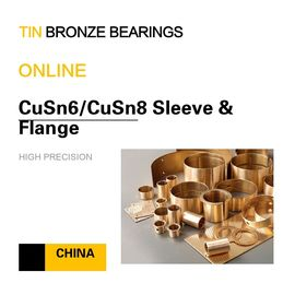 China CuSn6 Tin Bronze Bushing Flange Copper Alloy Bearing Oil Hole Groove Mining & Processing Equipment factory