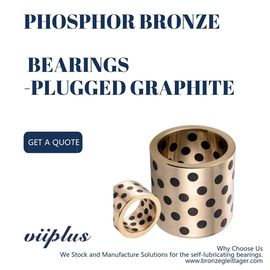 China Gold Graphite Plugged Bushings , Phosphor Bronze Bearings CuSn6Zn6Pb3 Material factory