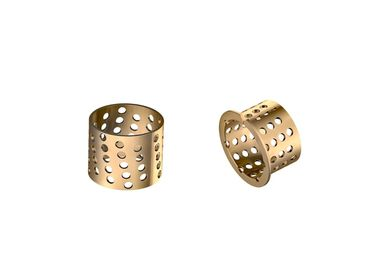 China Bronze Flange Dry Sliding Bearing Bushing 35-39-30mm Perforated In Gold factory
