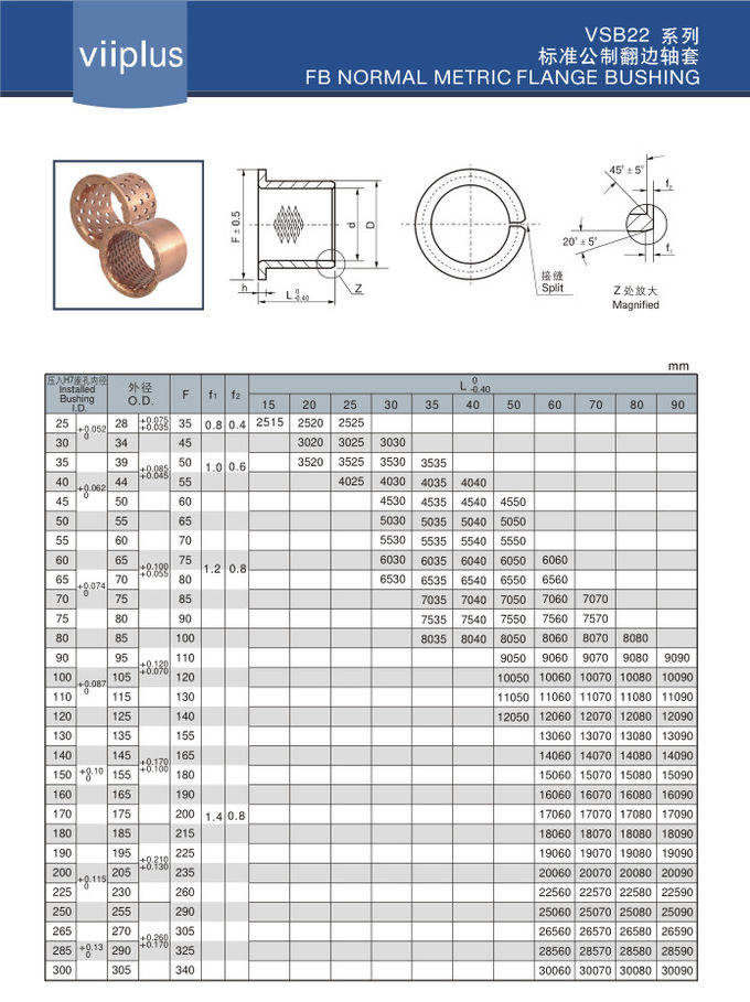 Custom Plain Bearings Washer Cusn8 & Cusn6.5 Graphite Standard Size Cylindrical Flanged Sleeve Bushing