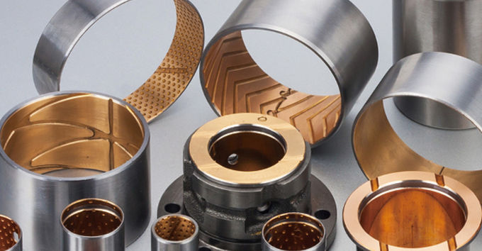 Anti - Wear Bimetal Bearing Bushes , Bronze Steel Flanged Bushing For excavator Arm Bushing & loader